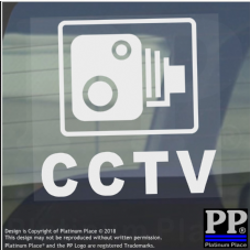 1 x CCTV Camera Window Security Stickers-Van,Car,Lorry,Truck,Taxi,Bus,Mini Cab,Minicab.White onto Clear Adhesive Vinyl Signs